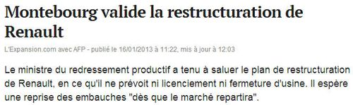 Montebourg valide la restructuration de Renault-L'Expansion 16.01.2013
