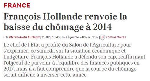 Hollande - baisse chômage reportée à 2014 - 22.02.2013