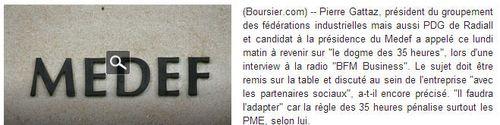 Medef-Pierre Gattaz contre les 35 heures-08.10.2013