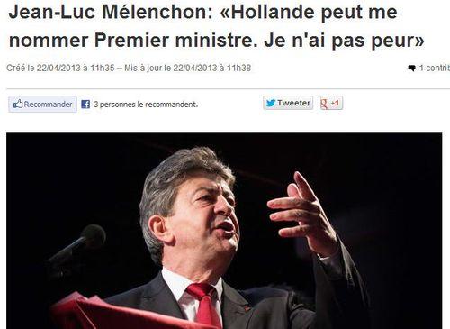 Mélenchon candidat premier ministre - 22.04.2013