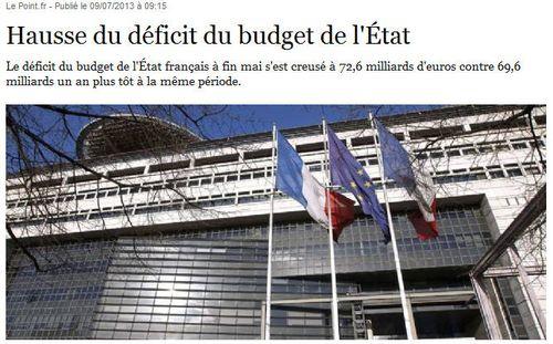 Hausse du deficit de l'Etat-08.07.2013