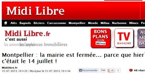 Midi Libre - Mairie Montpellier fermée lundi 15 juillet 2013