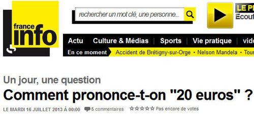 France Info-comment prononcer VINGT EUROS