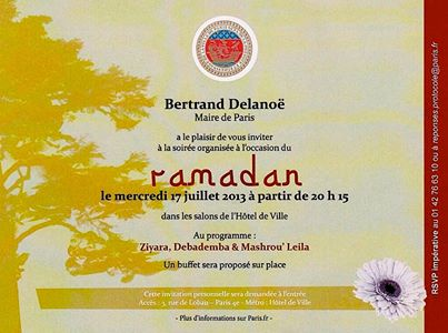 Ramadan mairie de Paris invitation 17.07.2013
