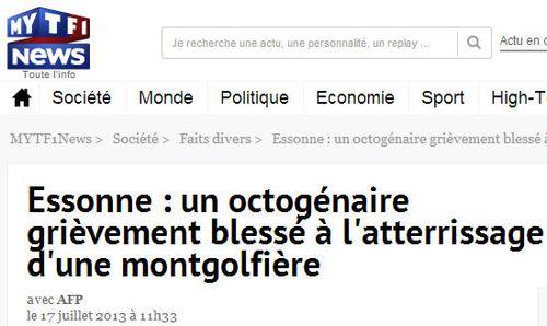Un octogénaire blessé - montgolfière- 17.07.2013