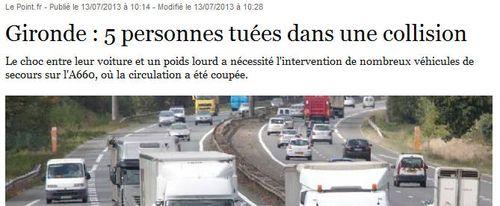Gironde 5 tués dans une collision - 13.7.2013