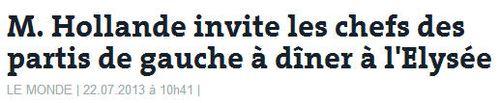 Hollande invite les chefs des partis de gauche à l'Elysée-22.07.2013