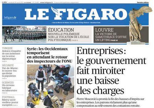 Le Figaro - 30.08.2013- le gouvernement fait miriter une baisse des charges