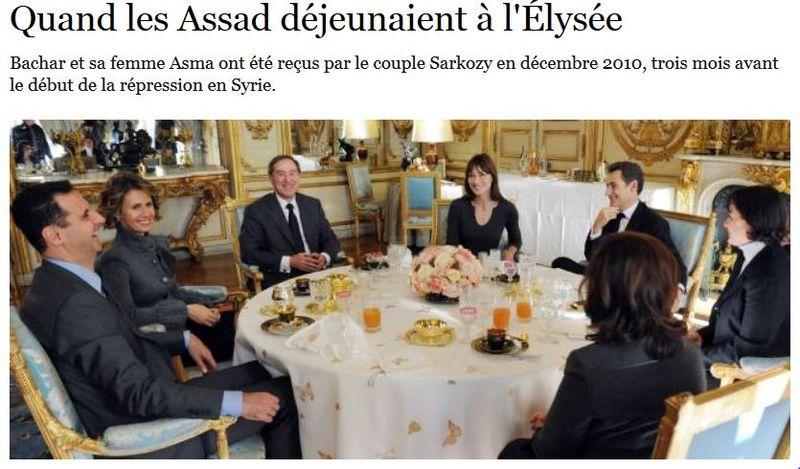 Quand les Assad déjeunaient à l'Elysée - 2010