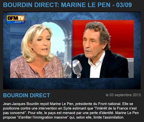 Le Pen-Bourdin-BFMTV-03.09.2013