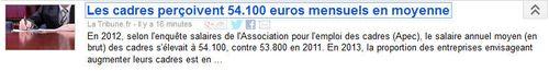 Cadres 54100 euros mensuels