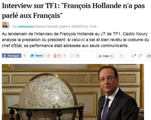 L'EXPRESS-Hollande sur TF1-15.09.2013