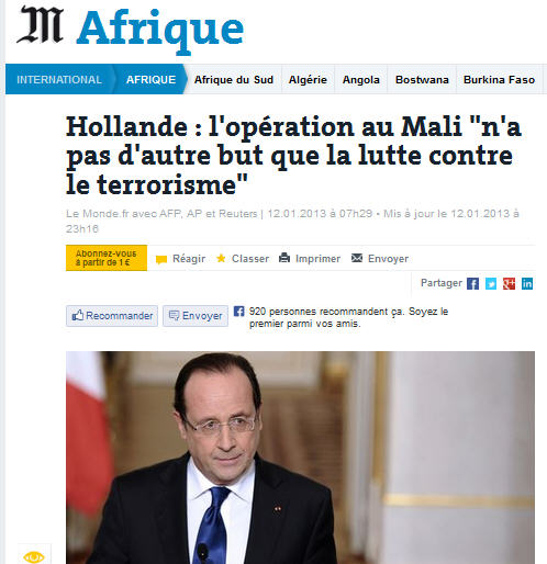 Le Monde-Guerre contre le terrorisme-12.01.2013