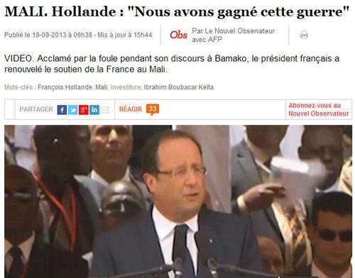 Mali-Hollande-Nous avons gagné cette guerre-19.09.2013