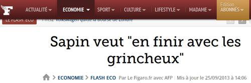 Sapin contre les grincheux-Le Figaro-25.09.2013