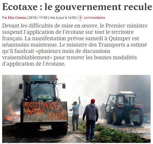 Ecotaxe le gouvernement recule