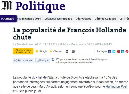 Hollande popularité à 15 pourcent-14.11.2013
