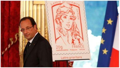 Hollande et timbre Marianne Femen