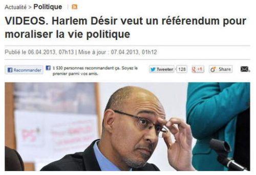 Harlem Désir veut moraliser la vie politique-06.04.2013