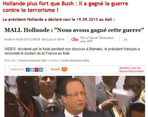 Mali Hollande a gagné la guerre en septembre 2013