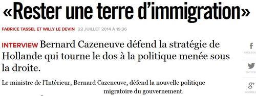 Cazeneuve-Libération-Rester une terre d'immigration-22.07.2014