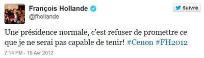 Tweet F Hollande du 19 avril 2012