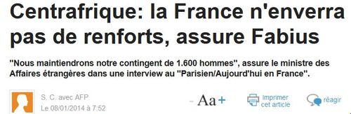 Centrafrique-pas de renforts selon Fabius-08.01.2014