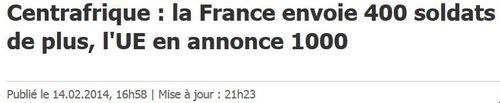 Centrafrique-Renfort de 400 soldats-14.02.2014