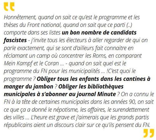 Belkacem déclaration contre le FN-23.03.2014