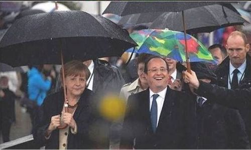 Parapluie Merkel - Hollande