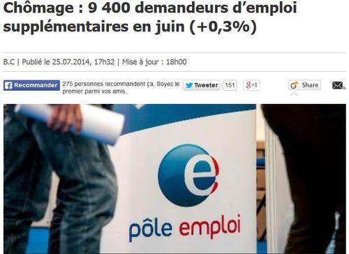 Chômage en juin 2014-nouvelle hausse