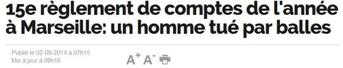 Marseille 15e règlement de compte 2014 fin juillet