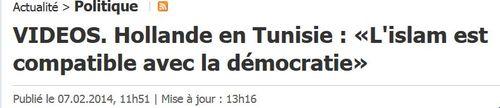 Islam compatible avec la démocratie selon Hollande-07.02.2014