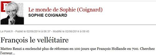 Le Point - Sophie Coignard - juin 2014 - Italie 1-France 0
