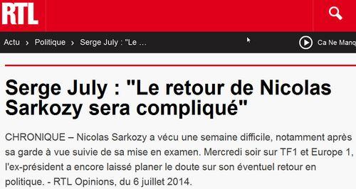 Serge July - retour de Nicola compliqué