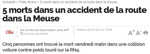 Accident de la route dans la Meuse 5 morts - 25.07.2014JPG