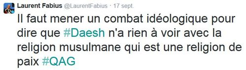 Laurent Fabius sur Daesh-TWEET-17.09.2014