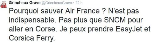 TWEET GG - Pourquoi sauver Air France. - 26.09.2014