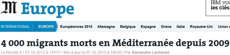 4 000 migrants morts en Méditerranée depuis 2009-sept 2014