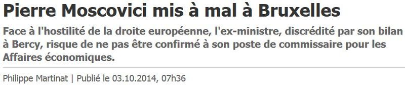 Moscovici dans les choux à Bruxelles - 03.10.2014