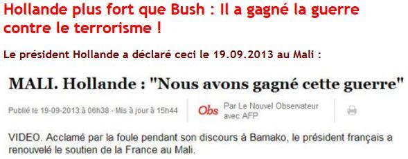 Mali - Hollande nous avons gagné cette guerre - 19.09.2013