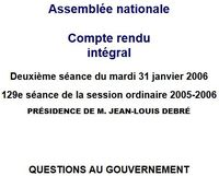 Assemblée nationale -Questions au gvt 31.01.2006