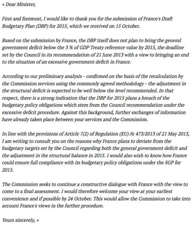 Lettre de Bruxelles à Hollande en anglais - 23.10.2014