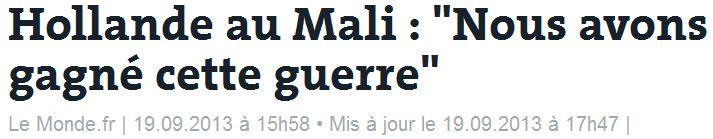 Hollande au Mali - nous avons gagné cette guerre - 19.09.2013