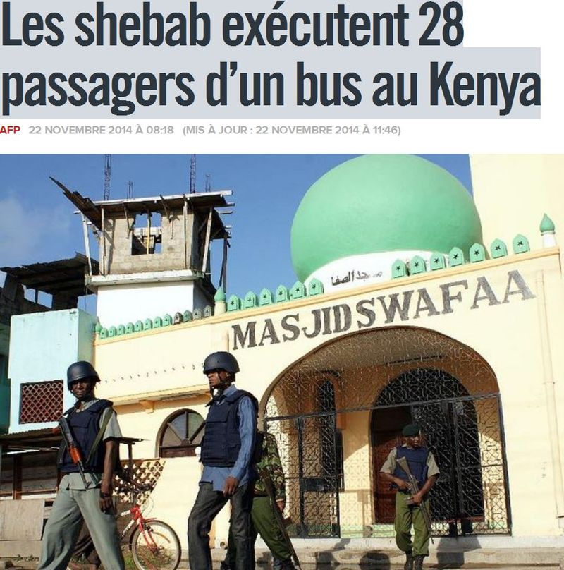 Kenya-shebab-28 passagers froidement assassinés-22.11.2014