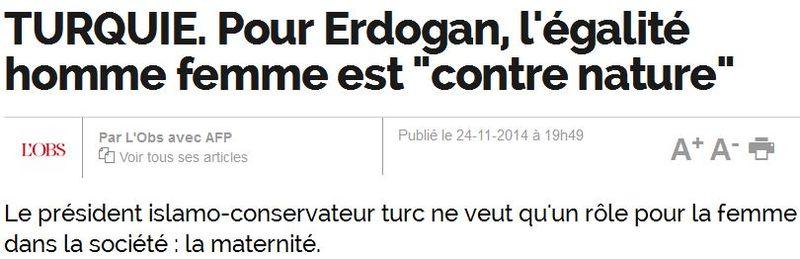 Turquie-Erdogan-inégalité homme-femme-L'OBS-25.11.2014