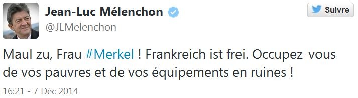Mélenchon - Maul zu Frau Merkel-Tweet du 07.12.2014