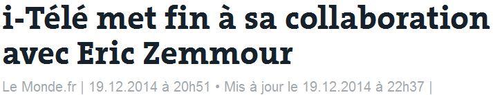 ITélé met fin à sa collaboration avec Eric Zemmour-19.12.2014