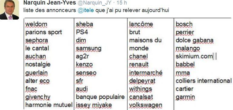 Jean-Yves Narquin - annonceurs sur iTélé-20.12.2014