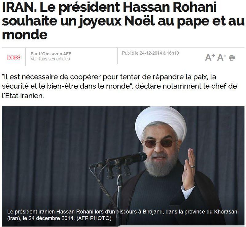 IRAN-le président souhaite un joyeux Noël - 2014